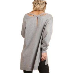 Umgee Brushed Knit Criss Cross Tunic Sweater Small